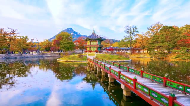 Lapso-de-tiempo-otoño-el-Palacio-de-Gyeongbokgung-en-Seúl-Corea-
