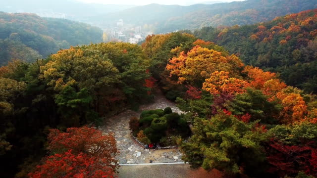 Aerial-view-autumn-of-Moutain-in-Seoul-South-Korea