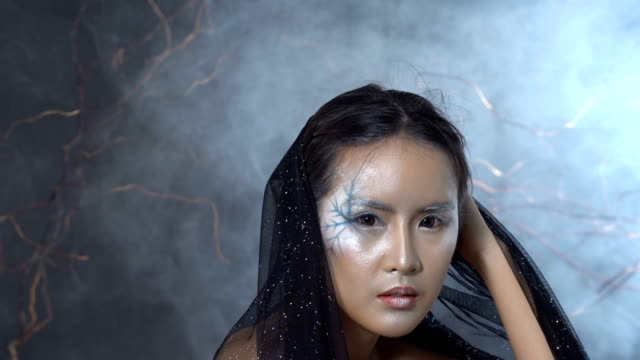 Beautiful-Witchcraft-Asian-woman-in-scary-Witch-snow-ghost-story-look