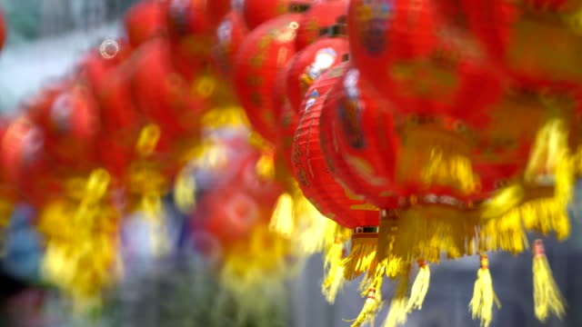 Chinese-New-Year-Lanterns-in-Chinatown-Translate-Blessing-Text-Mean-Prosperity-Wealthy-
