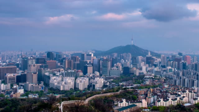 Seoul-skyline-on-sunset-timelapse-South-Korea-