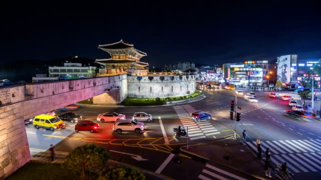Traditional-Architecture-of-Korea-in-Suwon-at-Night-South-Korea