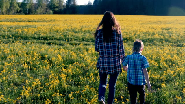 Mom-and-son-walk-on-the-field-of-yellow-flowers-Back-view-