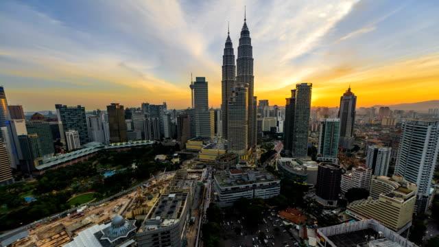 Sunset-Time-lapse-vista-con-vista-de-los-edificios-de-la-ciudad-de-Kuala-Lumpur