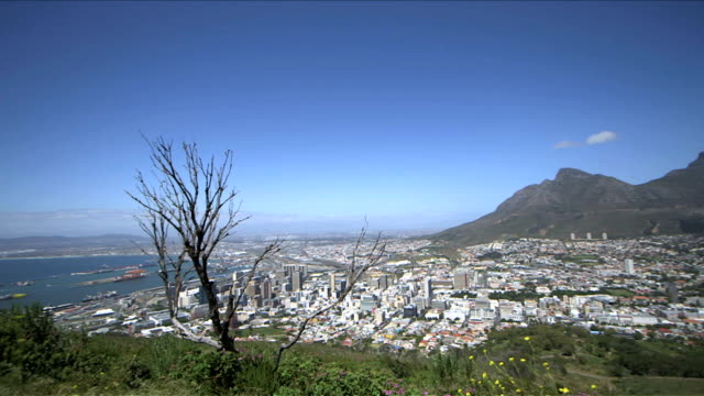 Shot-of-Cape-Town-city-South-Africa-on-a-clear-sunny-day-Panning-from-Cape-Town-harbour-across-the-city-to-Table-Mountain
