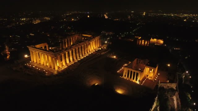 4K-Drone-Shot-Of-Acropolis-By-Night