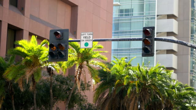 Street-sign-and-traffic-lights-in-4k