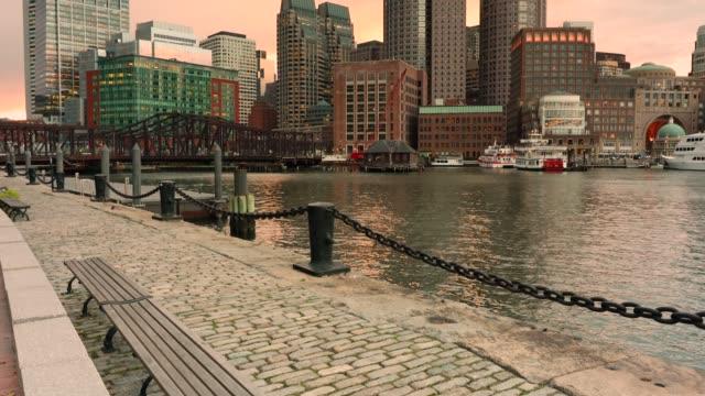 Boston-city-skyline-at-sunrise-Massachusetts-USA