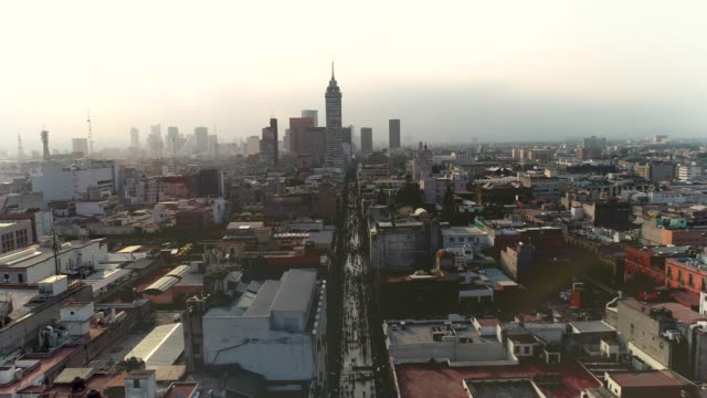 Mexico-City-crossing-of-Madero-and-Latin-American-Tower-Historical-center-view-with-drone
