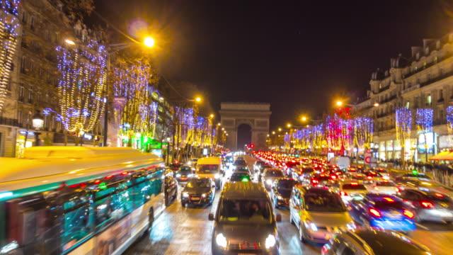 france-paris-night-illuminated-road-trip-tourist-bus-arch-de-triumph-street-view-4k-time-lapse