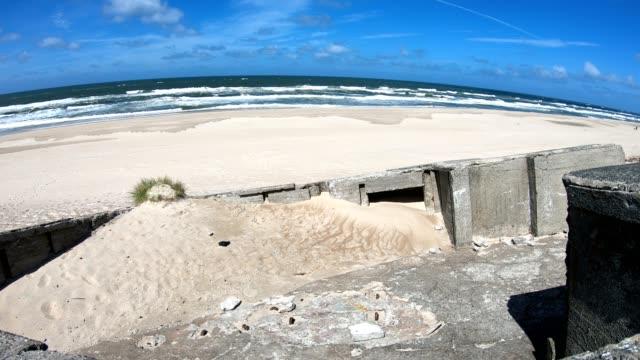 Ruin-of-concrete-Bunker-Atlantic-Wall-Second-World-War-memorial-North-Sea-4K