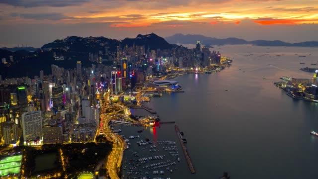 4k-hyperlapse-aerial-scene-of-Hong-Kong-city-with-Victoria-bay-scene-in-sunset