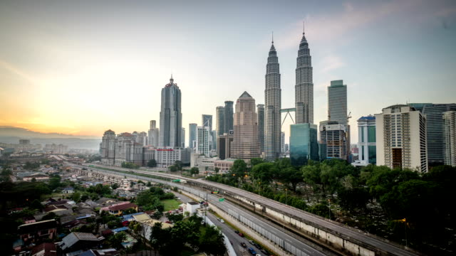 beautiful-sunrise-at-Kuala-Lumpur-city-centre-from-a-rooftop-of-a-building