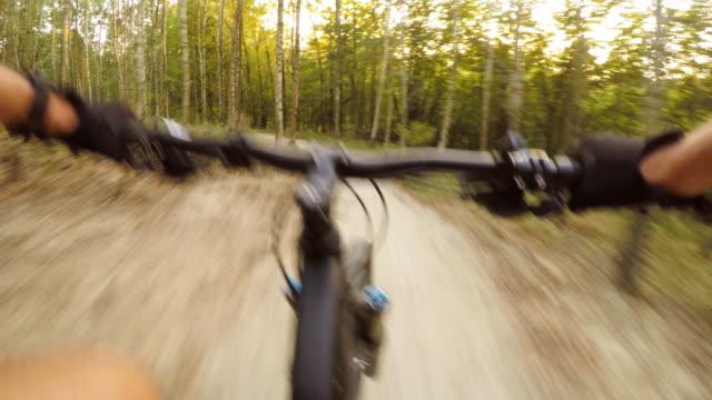 Ciclismo-de-montaña-en-el-bosque-de-verano-en-rastro-de-la-bici-vista-en-primera-persona