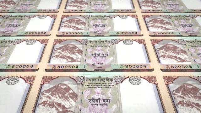 Banknoten-der-zehn-nepalesische-Rupie-von-Nepal-Bargeld-Schleife