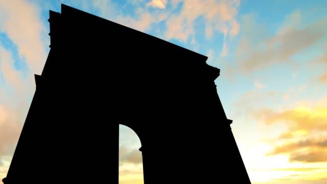 Timelapse-of-Arc-De-Triomphe-sunset-sky