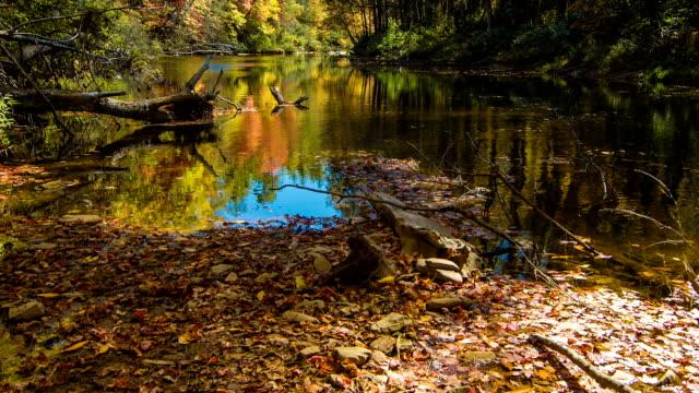 Inclinación-hasta-brillantes-Matices-otoñales-en-Linville-río-Carolina-del-Norte