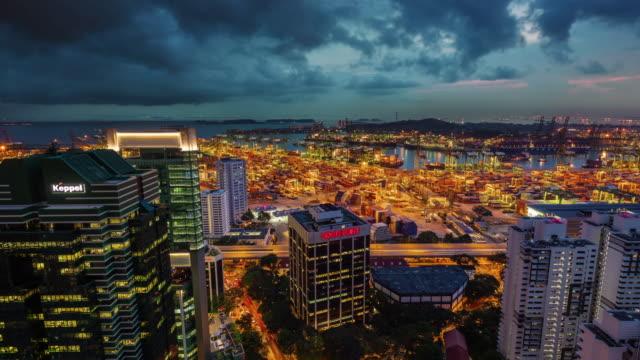 día-hasta-la-noche-luz-Singapur-puerto-bloque-4-lapso-de-tiempo-k