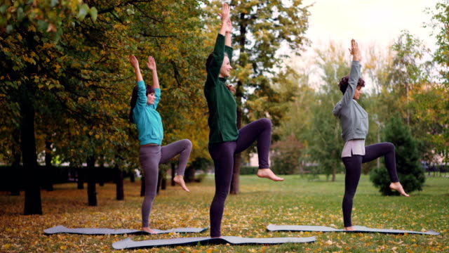 Jóvenes-delgadas-ejercen-al-aire-libre-de-flexión-hacia-delante-y-hacia-atrás-estirando-el-cuerpo-y-los-brazos-Concepto-de-actividad-deportes-y-personas-recreativo-