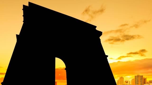 hot-sunset-sky-on-Arc-De-Triomphe