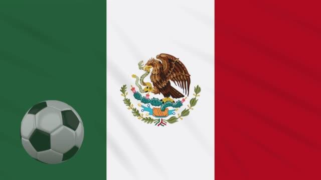 Mexico-flag-waving-and-soccer-ball-rotates-loop