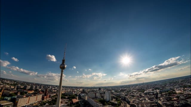 Perfect-Skyline-aerial-timelapse-of-Berlin-with-beautiful-sun-and-some-clouds-during-summer