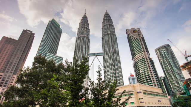 día-de-Malasia-kuala-lumpur-petronas-twin-panorama-de-Torres-KLCC-centro-comercial-4k-lapso-de-tiempo