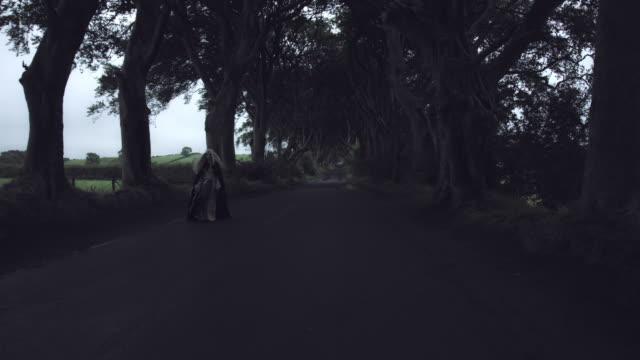 4k-tiro-de-fantasía-en-setos-oscuros-reina-Walking-(tiro-largo)