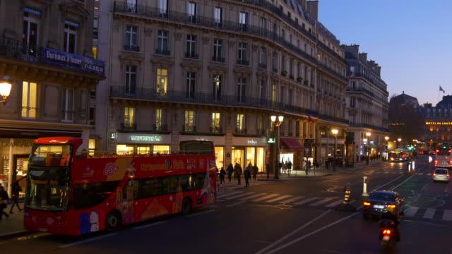 france-sunset-time-illumination-paris-famous-double-decker-bus-ride-street-pov-panorama-4k