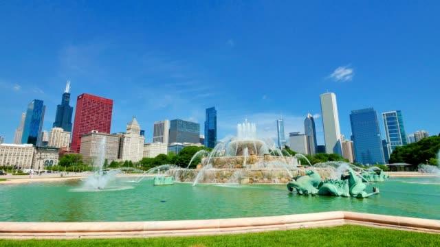 El-centro-de-la-ciudad-de-Chicago-Horizonte-de-Fuente-de-Buckingham-vista