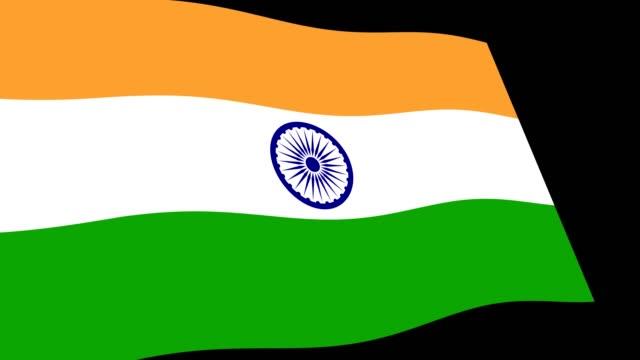 Bandera-de-India-lento-agitando-en-perspectiva-secuencias-de-animación-4K