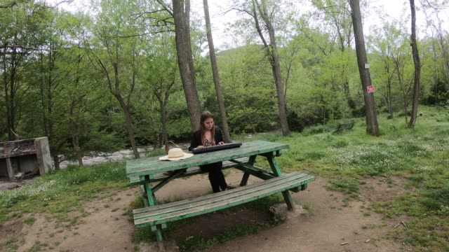 young-and-beautiful-woman-playing-synthesizer-on-the-table-of-a-park-France