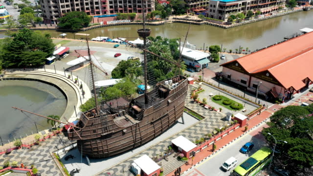 Aerial-view-of-Malacca-cityscape-with-The-Royal-Malaysian-Navy-Museum-at-daytime