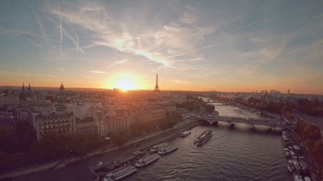 Aerial-Eiffel-tower-Paris-sunset