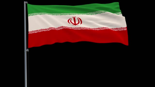Isolate-flag-of-Iran-on-a-flagpole-fluttering-in-the-wind-on-a-transparent-blue-background-3d-rendering-3d-rendering-4k-prores-4444-footage-with-alpha-transparency