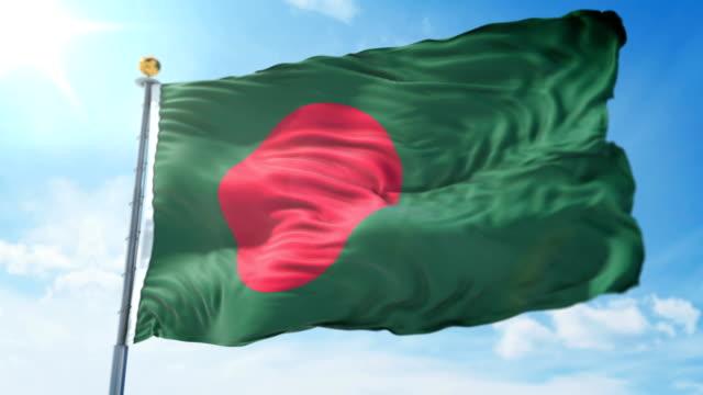 Bangladesh-flag-seamless-looping-3D-rendering-video-Beautiful-textile-cloth-fabric-loop-waving