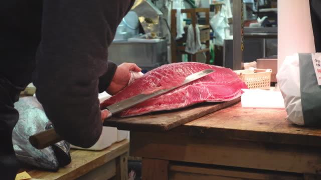 Carne-de-corte-en-una-lonja-japonesa