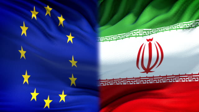 European-Union-and-Iran-flags-background-diplomatic-and-economic-relations