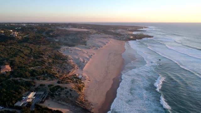 Aerial-drone-view-of-Guincho-beach-in-Cascais-Portugal