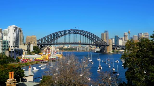 Lavender-Bay-Sydney-Harbor-Bridge-Luna-Park-(4K/UHD-to-HD)
