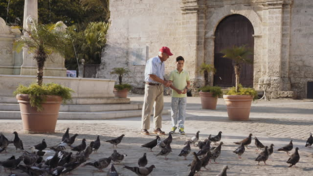 Grandpa-And-Grandson-Feeding-Pigeons-With-Bread-On-Vacations