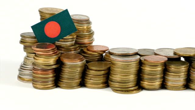 Bangladesh-flag-with-stack-of-money-coins