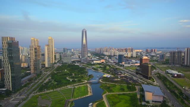 Luft-fliegen-von-Incheon-Central-Park-in-Songdo-International-Business-District-South-Korea