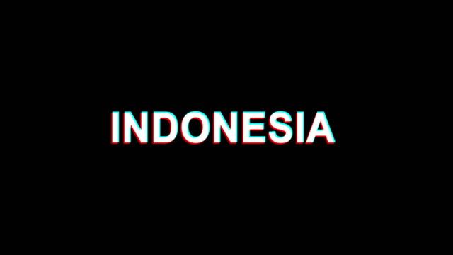 INDONESIA-Glitch-Effect-Text-Digital-TV-Distortion-4K-Loop-Animation