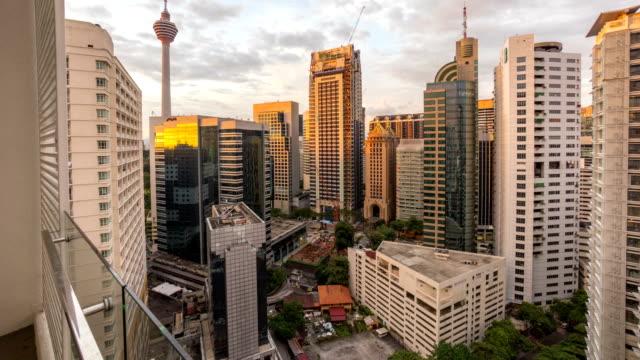 Kuala-Lumpur-Malaysia--circa-October-2015-:Beautiful-Day-to-Night-Sunrise-Scene-Over-Kuala-Lumpur-City-Time-Lapse-Showing-the-Famous-Kuala-Lumpur-Tower-and-other-bulding-nearby-