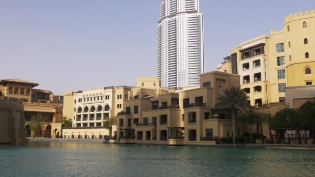 dubai-mall-sunset-light-hotel-block-4k-uae
