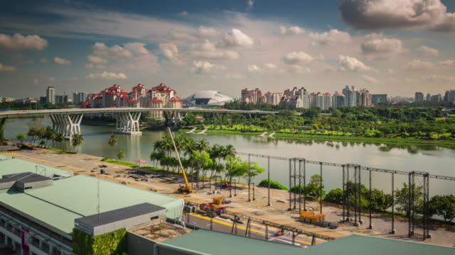 ciudad-luz-del-día-de-la-vista-flyer-Singapur-4k-lapso-de-tiempo