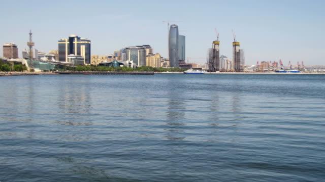 Embankment-of-Baku-Azerbaijan-The-Caspian-Sea-and-Skyscrapers