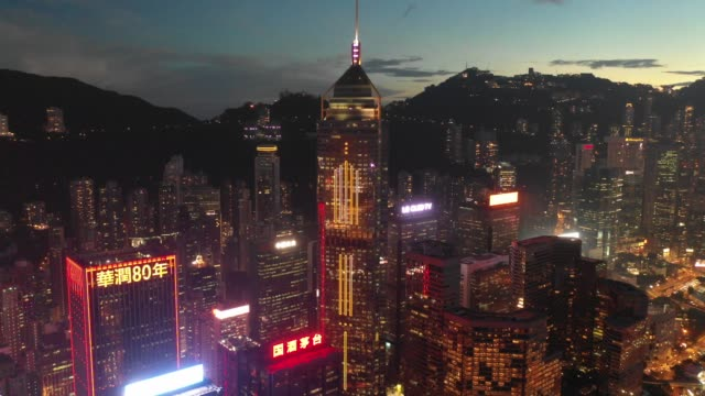 4K-Aerial-view-footage-of-Hong-Kong-City-in-Sunset
