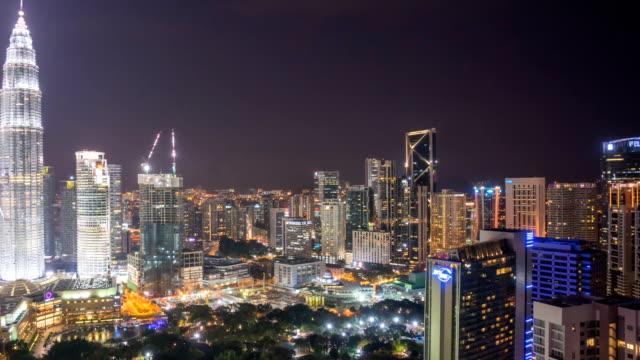 Nightscape-cloudy-time-lapse-of-Kuala-Lumpur-city-skyline-